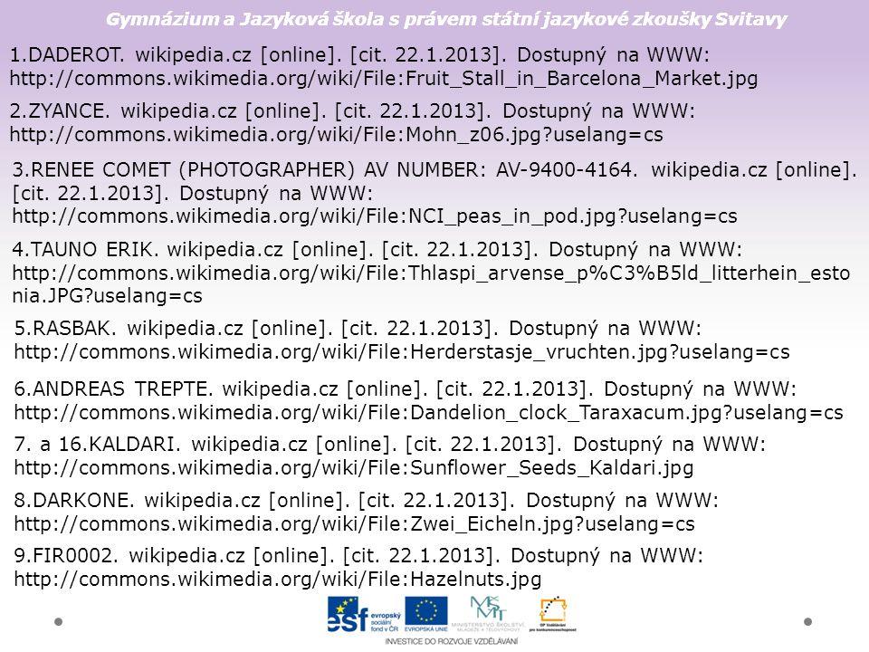 Gymnázium a Jazyková škola s právem státní jazykové zkoušky Svitavy 1.DADEROT. wikipedia.cz [online]. [cit. 22.1.2013]. Dostupný na WWW: http://common