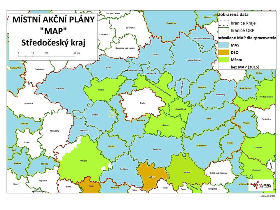 Animace a podpora škol pro kvalitní projekty Místní akční plánování Plocha kraje mimo Kladno, Kolín, Příbram, Mladá Boleslav + nepokrytá území 26 MAP dle ORP 27 MAS venkov + 2 částečně Kdo.