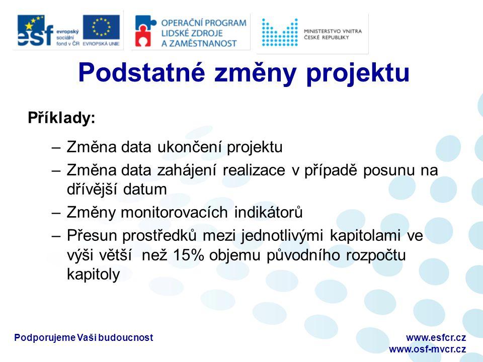 Podstatné změny projektu Příklady: –Změna data ukončení projektu –Změna data zahájení realizace v případě posunu na dřívější datum –Změny monitorovací