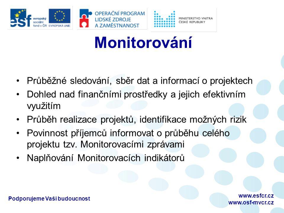 Monitorování Průběžné sledování, sběr dat a informací o projektech Dohled nad finančními prostředky a jejich efektivním využitím Průběh realizace proj