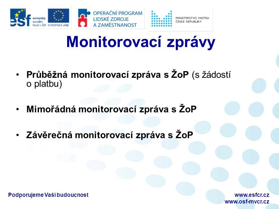Monitorovací zprávy Průběžná monitorovací zpráva s ŽoP (s žádostí o platbu) Mimořádná monitorovací zpráva s ŽoP Závěrečná monitorovací zpráva s ŽoP Po