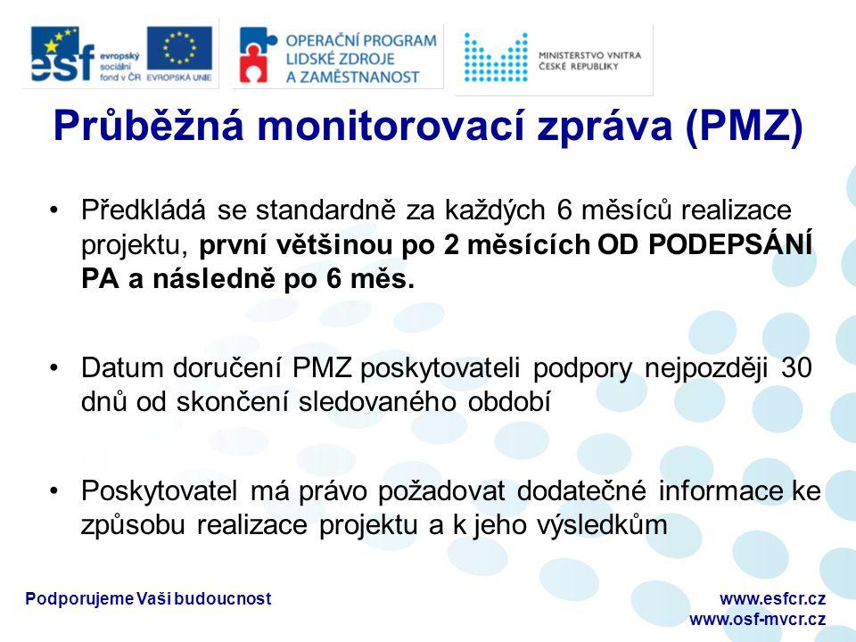 Průběžná monitorovací zpráva (PMZ) Předkládá se standardně za každých 6 měsíců realizace projektu, první většinou po 2 měsících OD PODEPSÁNÍ PA a násl
