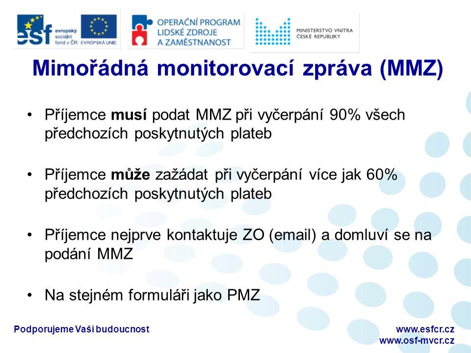 Mimořádná monitorovací zpráva (MMZ) Příjemce musí podat MMZ při vyčerpání 90% všech předchozích poskytnutých plateb Příjemce může zažádat při vyčerpán
