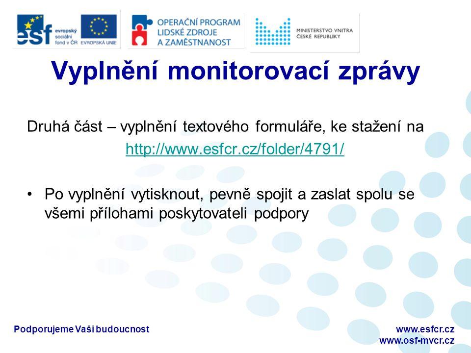 Vyplnění monitorovací zprávy Druhá část – vyplnění textového formuláře, ke stažení na http://www.esfcr.cz/folder/4791/ Po vyplnění vytisknout, pevně s