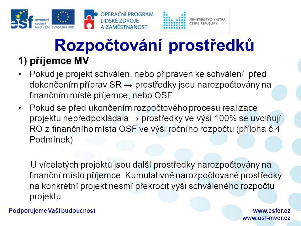 Rozpočtování prostředků 1) příjemce MV Pokud je projekt schválen, nebo připraven ke schválení před dokončením příprav SR → prostředky jsou narozpočtov