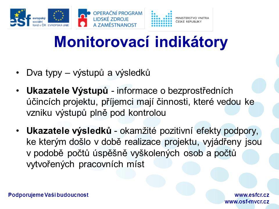 Monitorovací indikátory Dva typy – výstupů a výsledků Ukazatele Výstupů - informace o bezprostředních účincích projektu, příjemci mají činnosti, které