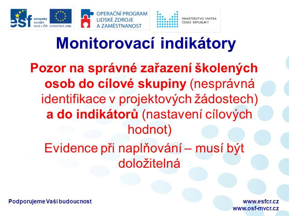 Monitorovací indikátory Pozor na správné zařazení školených osob do cílové skupiny (nesprávná identifikace v projektových žádostech) a do indikátorů (