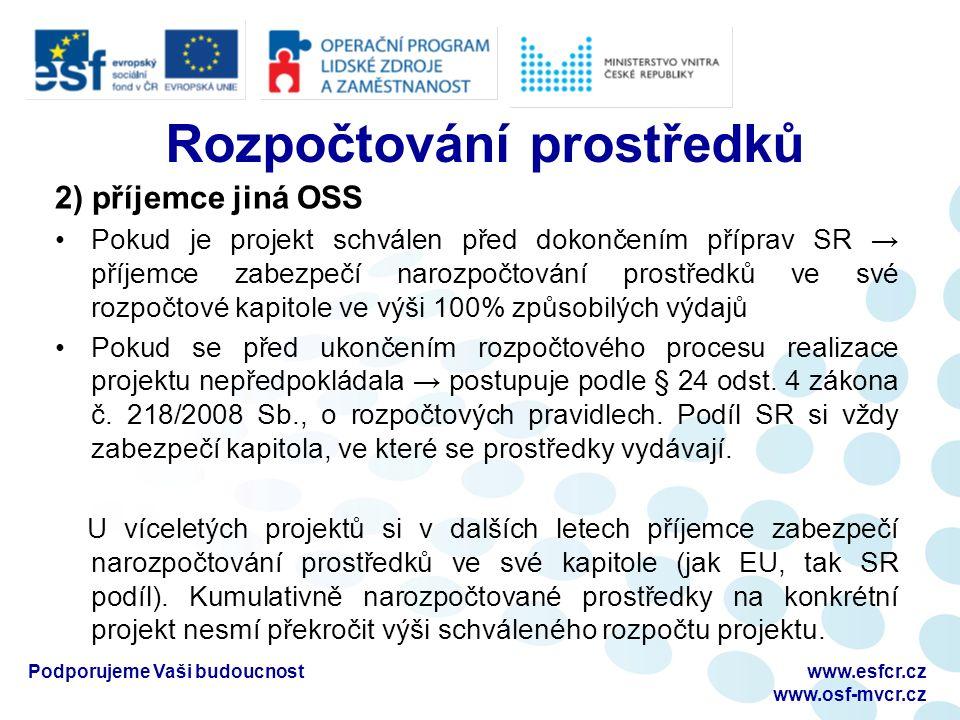 Monitorovací zprávy Průběžná monitorovací zpráva s ŽoP (s žádostí o platbu) Mimořádná monitorovací zpráva s ŽoP Závěrečná monitorovací zpráva s ŽoP Podporujeme Vaši budoucnostwww.esfcr.cz www.osf-mvcr.cz