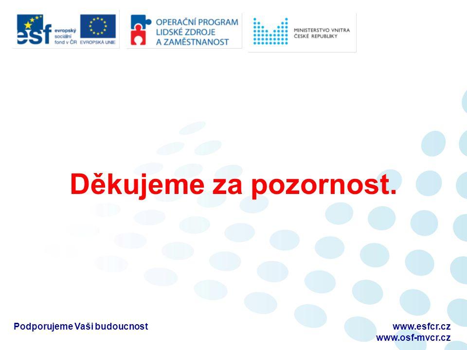 Děkujeme za pozornost. Podporujeme Vaši budoucnostwww.esfcr.cz www.osf-mvcr.cz