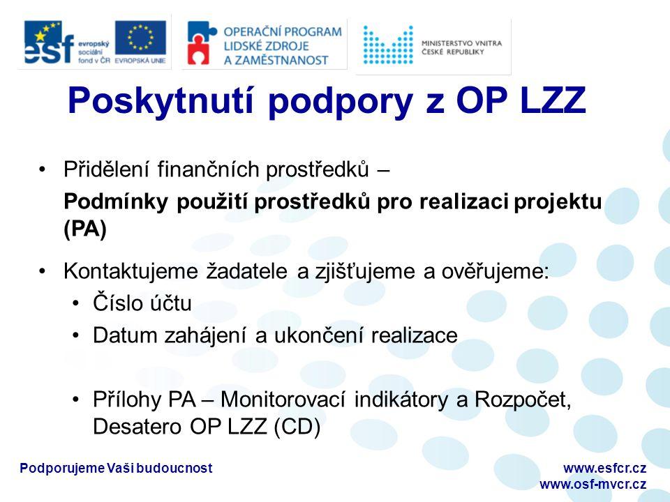 Projekt v realizaci Realizace projektu / KA – čerpání způsobilých výdajů Způsobilost výdajů – Desatero OP LZZ, příručka D5 i.Výdaj musí být vynaložen na činnosti v souladu s nařízeními EK, s Pravidly způsobilých výdajů a v souladu s cílem prioritní osy 4a a 4b OP LZZ ii.Výdaj musí být nezbytný pro realizaci projektu, přímá vazba na KA iii.Časová způsobilost - max 3 měsíce před podáním žádosti a zároveň v době realizace projektu až do ukončení projektu (doložené) iv.Výdaj musí skutečně vzniknout a být doložitelný na bankovních účtech a v účetní evidenci příjemce v.Efektivita výdaje Podporujeme Vaši budoucnostwww.esfcr.cz www.osf-mvcr.cz