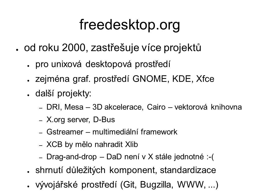 freedesktop.org ● od roku 2000, zastřešuje více projektů ● pro unixová desktopová prostředí ● zejména graf.