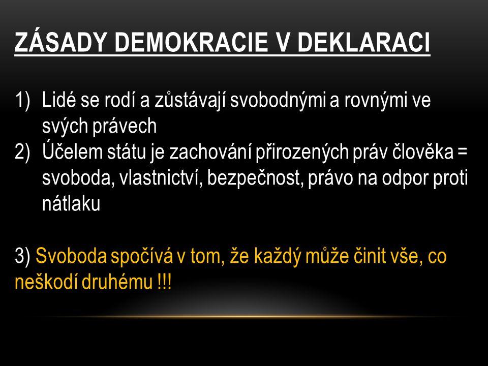 ZÁSADY DEMOKRACIE V DEKLARACI 1)Lidé se rodí a zůstávají svobodnými a rovnými ve svých právech 2)Účelem státu je zachování přirozených práv člověka = svoboda, vlastnictví, bezpečnost, právo na odpor proti nátlaku 3) Svoboda spočívá v tom, že každý může činit vše, co neškodí druhému !!!