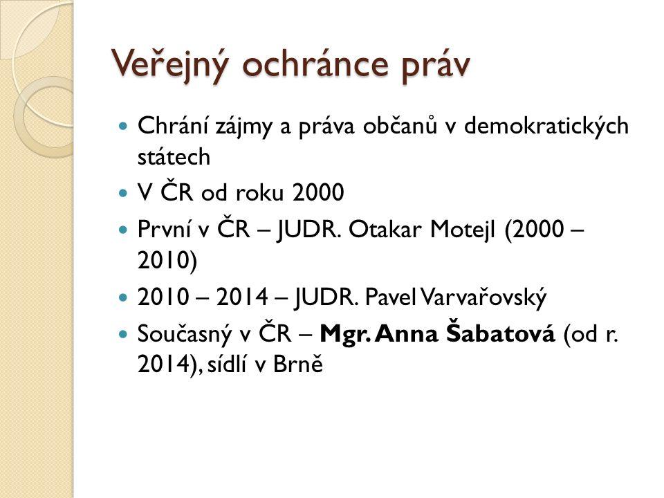 Veřejný ochránce práv Chrání zájmy a práva občanů v demokratických státech V ČR od roku 2000 První v ČR – JUDR.