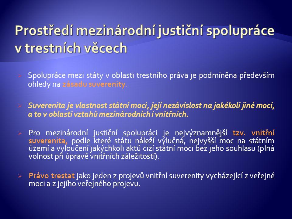  Spolupráce mezi státy v oblasti trestního práva je podmíněna především ohledy na zásadu suverenity.