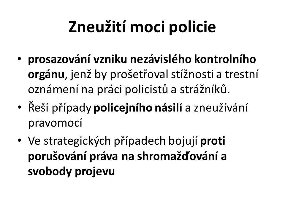 Zneužití moci policie prosazování vzniku nezávislého kontrolního orgánu, jenž by prošetřoval stížnosti a trestní oznámení na práci policistů a strážníků.