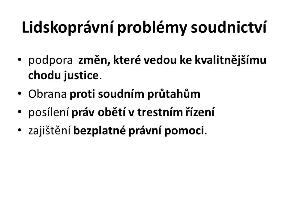 Lidskoprávní problémy soudnictví podpora změn, které vedou ke kvalitnějšímu chodu justice.