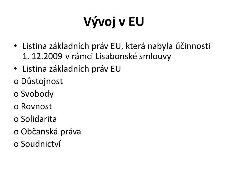 Vývoj v EU Listina základních práv EU, která nabyla účinnosti 1.