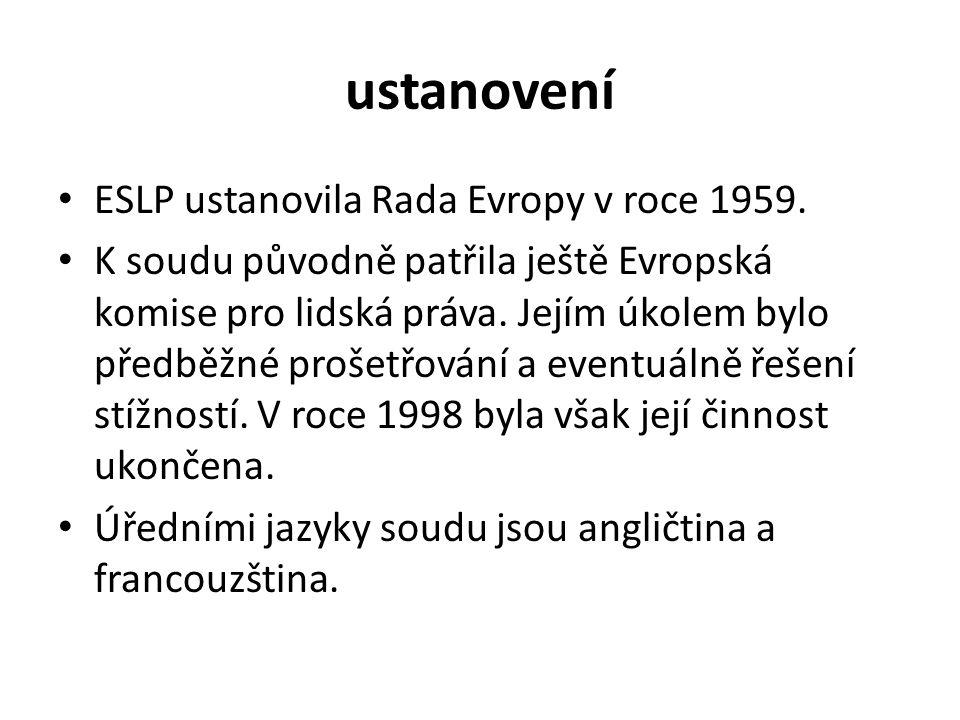 ustanovení ESLP ustanovila Rada Evropy v roce 1959.