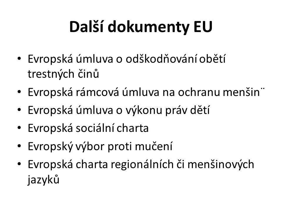 Další dokumenty EU Evropská úmluva o odškodňování obětí trestných činů Evropská rámcová úmluva na ochranu menšin¨ Evropská úmluva o výkonu práv dětí Evropská sociální charta Evropský výbor proti mučení Evropská charta regionálních či menšinových jazyků