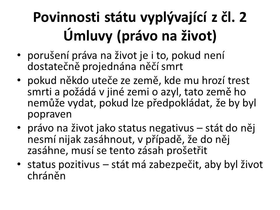 Povinnosti státu vyplývající z čl.