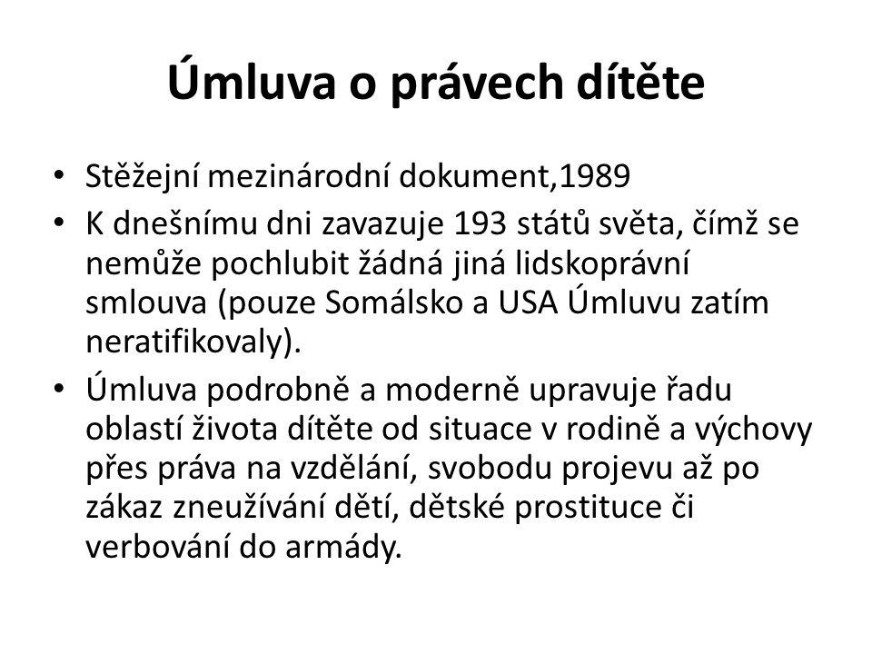 Úmluva o právech dítěte Stěžejní mezinárodní dokument,1989 K dnešnímu dni zavazuje 193 států světa, čímž se nemůže pochlubit žádná jiná lidskoprávní smlouva (pouze Somálsko a USA Úmluvu zatím neratifikovaly).