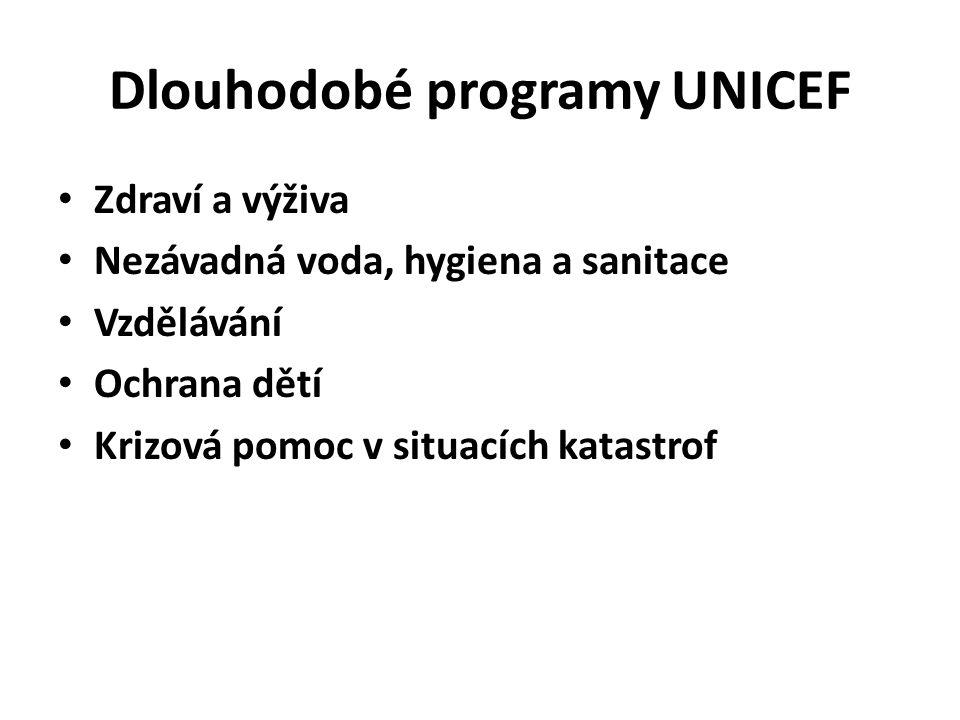 Dlouhodobé programy UNICEF Zdraví a výživa Nezávadná voda, hygiena a sanitace Vzdělávání Ochrana dětí Krizová pomoc v situacích katastrof