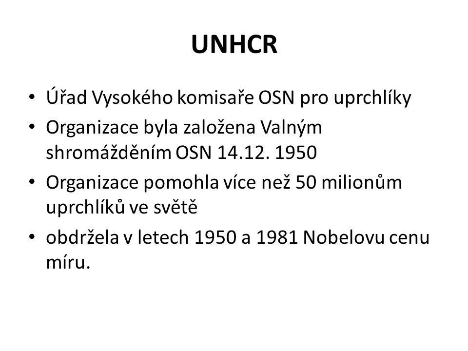UNHCR Úřad Vysokého komisaře OSN pro uprchlíky Organizace byla založena Valným shromážděním OSN 14.12.