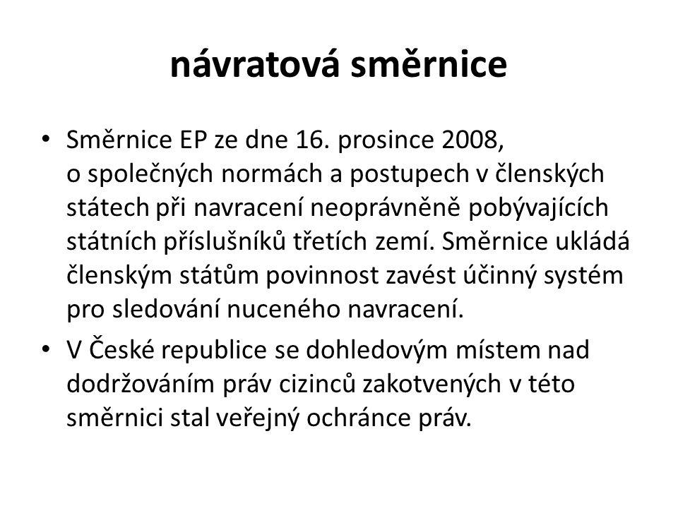 návratová směrnice Směrnice EP ze dne 16.