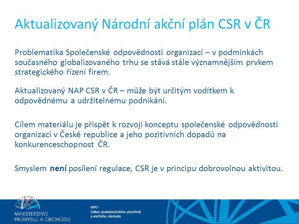 MPO Odbor podnikatelského prostředí a vnitřního obchodu Aktualizovaný Národní akční plán CSR v ČR Problematika Společenské odpovědnosti organizací – v podmínkách současného globalizovaného trhu se stává stále významnějším prvkem strategického řízení firem.