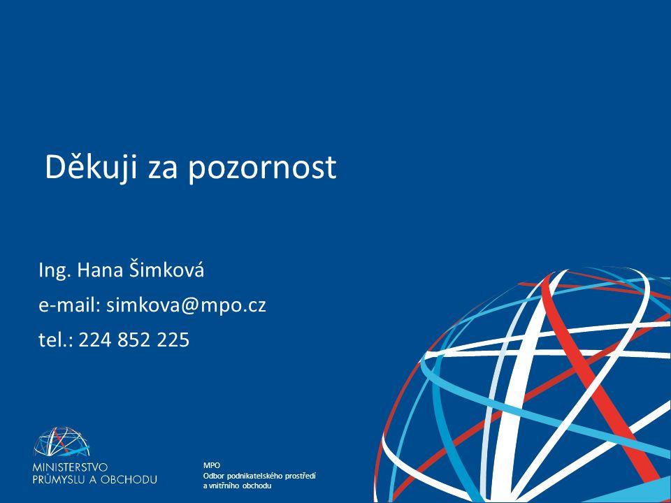 MPO Odbor podnikatelského prostředí a vnitřního obchodu Ing.