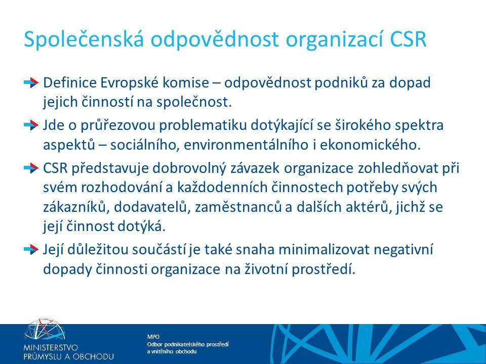 MPO Odbor podnikatelského prostředí a vnitřního obchodu Společenská odpovědnost organizací CSR Definice Evropské komise – odpovědnost podniků za dopad jejich činností na společnost.