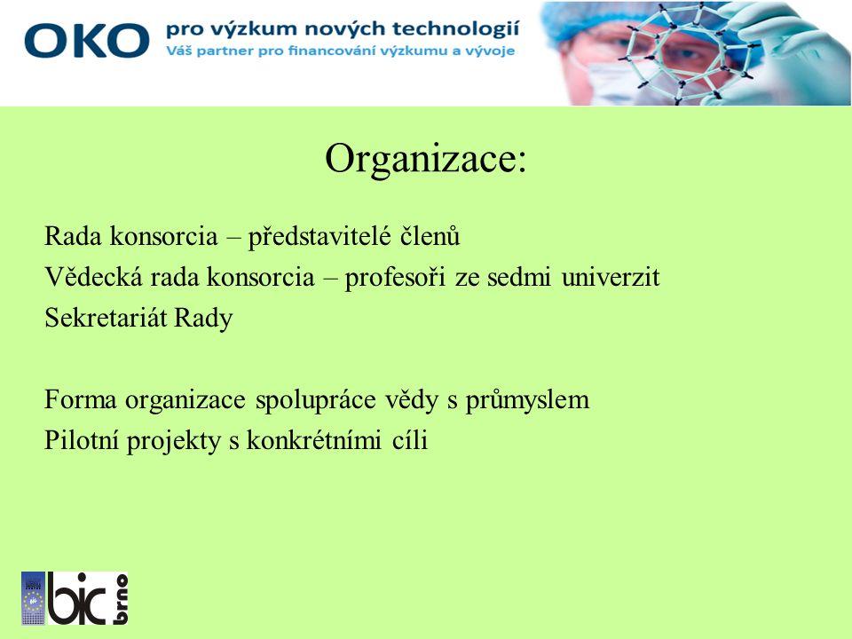 Organizace: Rada konsorcia – představitelé členů Vědecká rada konsorcia – profesoři ze sedmi univerzit Sekretariát Rady Forma organizace spolupráce vědy s průmyslem Pilotní projekty s konkrétními cíli
