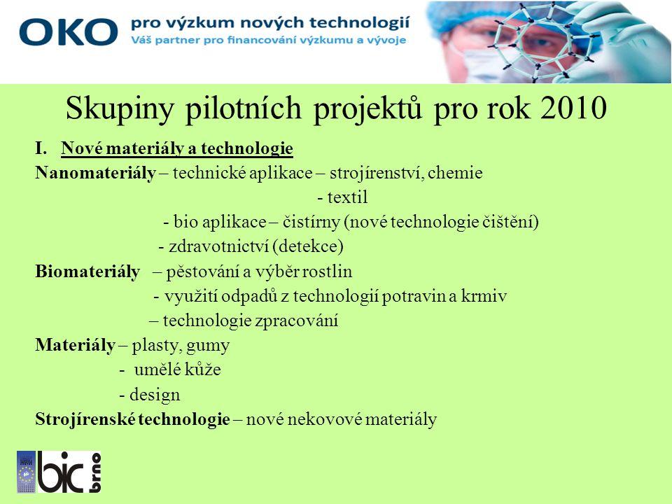 Skupiny pilotních projektů pro rok 2010 I.