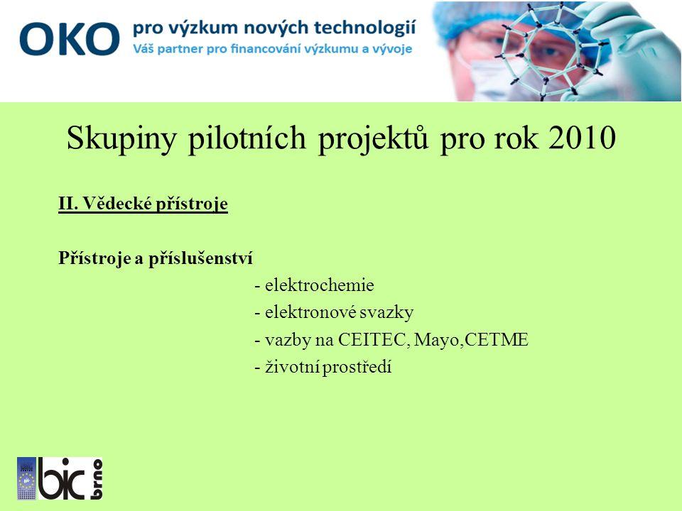 Skupiny pilotních projektů pro rok 2010 II.