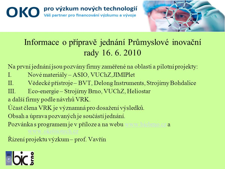 Informace o přípravě jednání Průmyslové inovační rady 16.