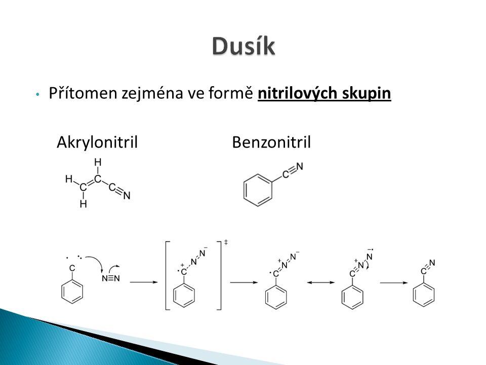 Přítomen zejména ve formě nitrilových skupin Akrylonitril Benzonitril