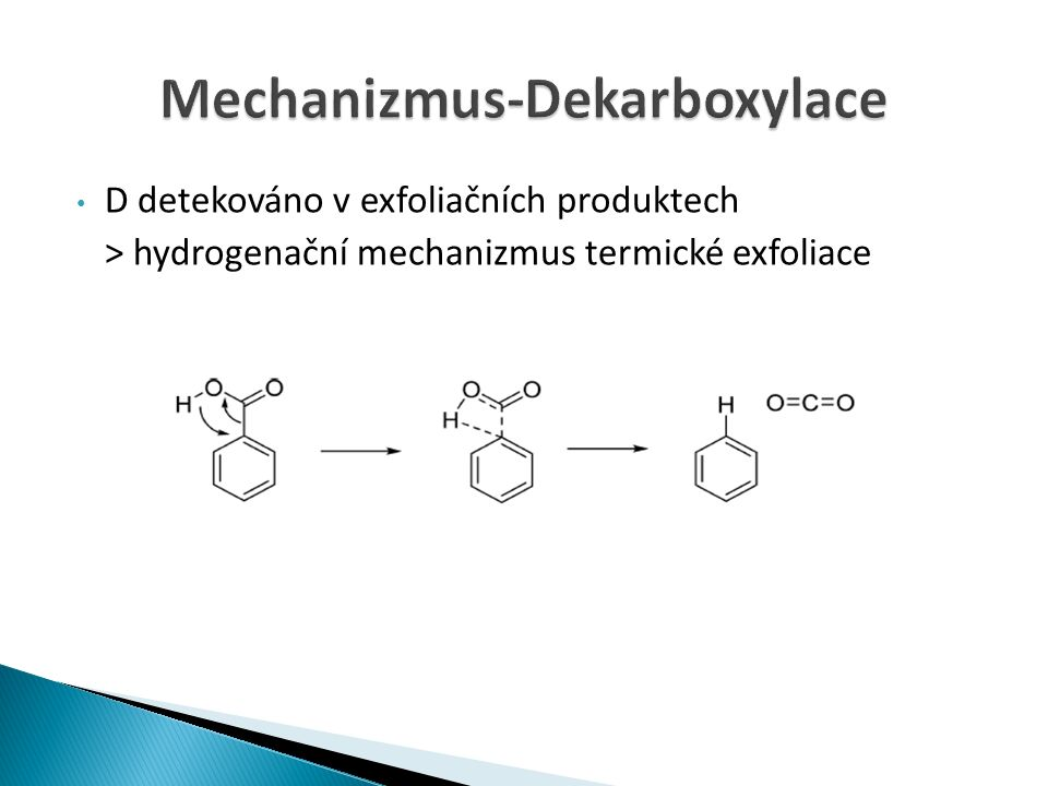 D detekováno v exfoliačních produktech > hydrogenační mechanizmus termické exfoliace