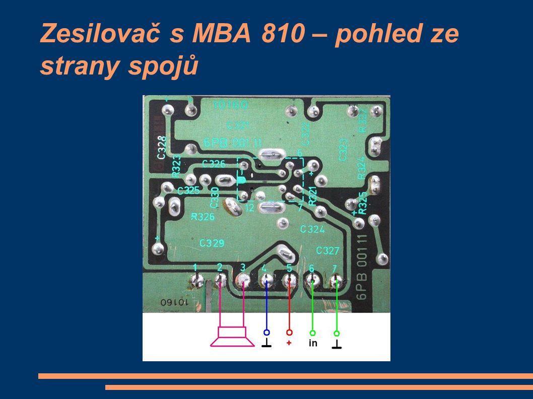 Zesilovač s MBA 810 – pohled ze strany spojů