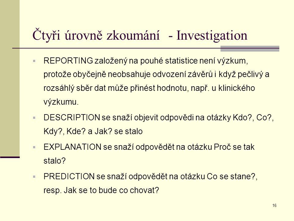 16 Čtyři úrovně zkoumání - Investigation  REPORTING založený na pouhé statistice není výzkum, protože obyčejně neobsahuje odvození závěrů i když pečlivý a rozsáhlý sběr dat může přinést hodnotu, např.