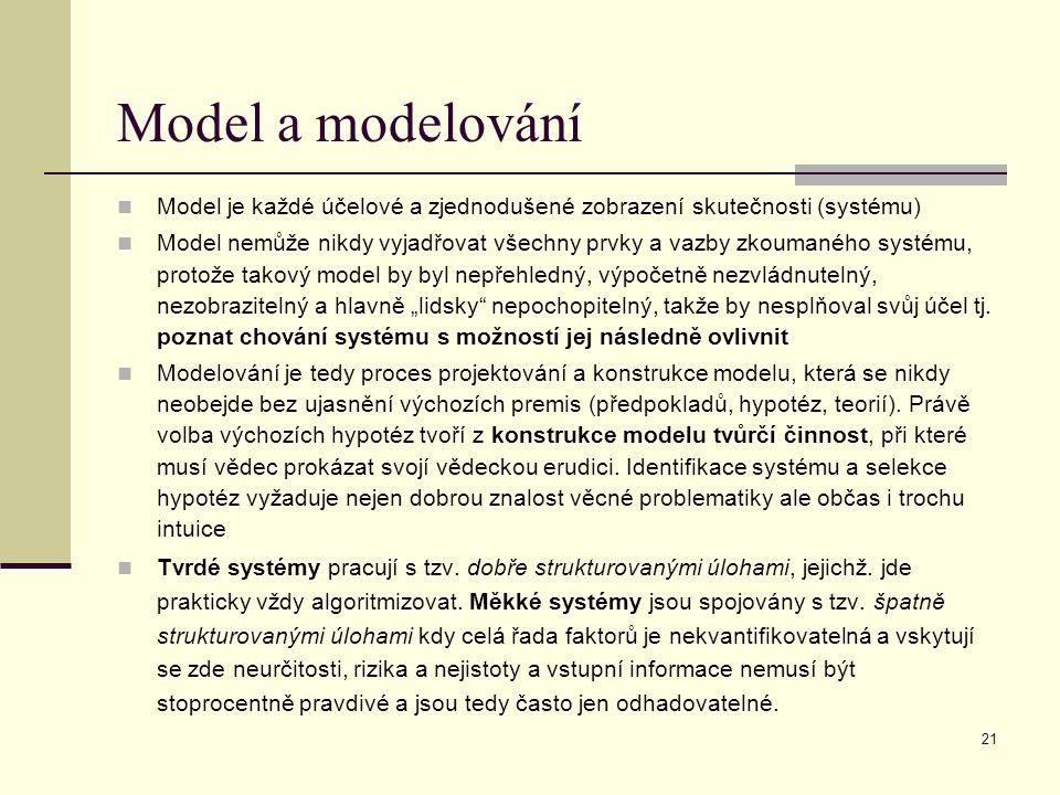 """21 Model a modelování Model je každé účelové a zjednodušené zobrazení skutečnosti (systému) Model nemůže nikdy vyjadřovat všechny prvky a vazby zkoumaného systému, protože takový model by byl nepřehledný, výpočetně nezvládnutelný, nezobrazitelný a hlavně """"lidsky nepochopitelný, takže by nesplňoval svůj účel tj."""