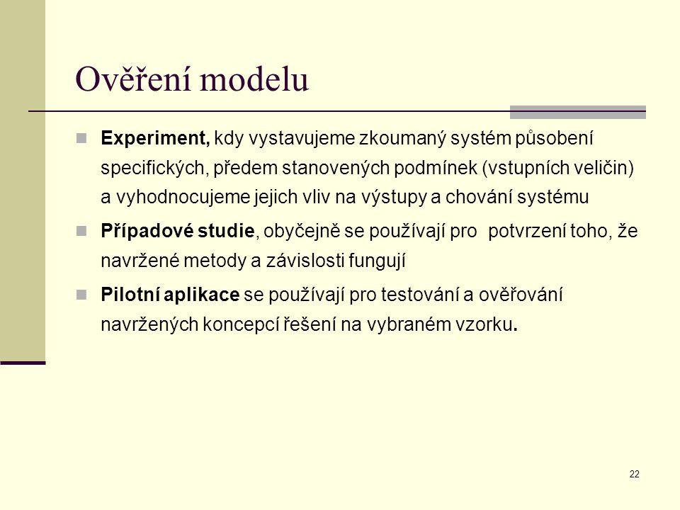 22 Ověření modelu Experiment, kdy vystavujeme zkoumaný systém působení specifických, předem stanovených podmínek (vstupních veličin) a vyhodnocujeme jejich vliv na výstupy a chování systému Případové studie, obyčejně se používají pro potvrzení toho, že navržené metody a závislosti fungují Pilotní aplikace se používají pro testování a ověřování navržených koncepcí řešení na vybraném vzorku.
