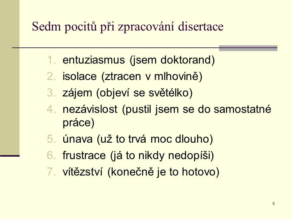 9 Sedm pocitů při zpracování disertace 1.entuziasmus (jsem doktorand) 2.isolace (ztracen v mlhovině) 3.zájem (objeví se světélko) 4.nezávislost (pusti