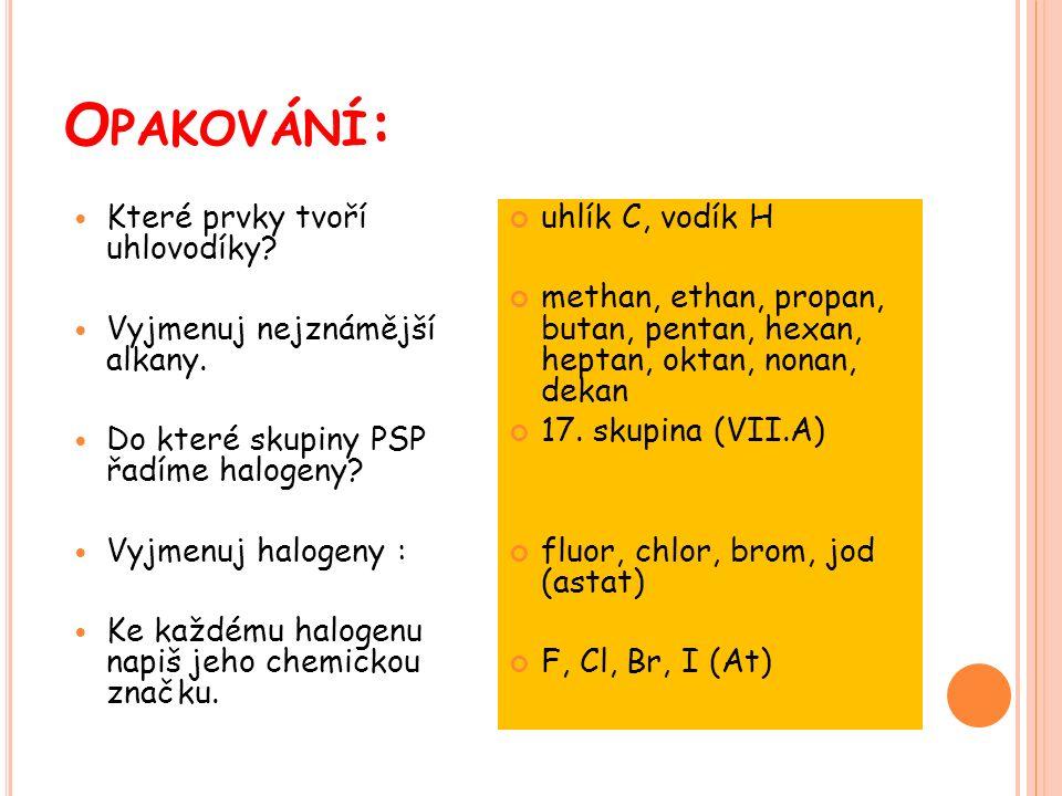 uhlík C, vodík H methan, ethan, propan, butan, pentan, hexan, heptan, oktan, nonan, dekan 17.
