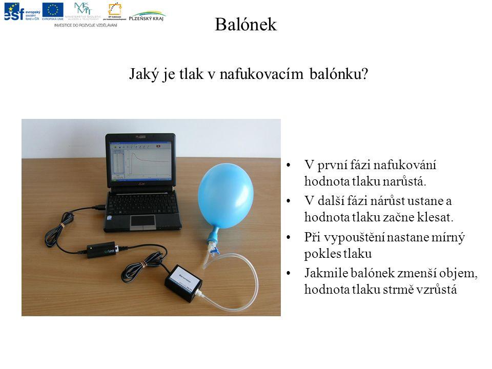 Balónek Jaký je tlak v nafukovacím balónku. V první fázi nafukování hodnota tlaku narůstá.