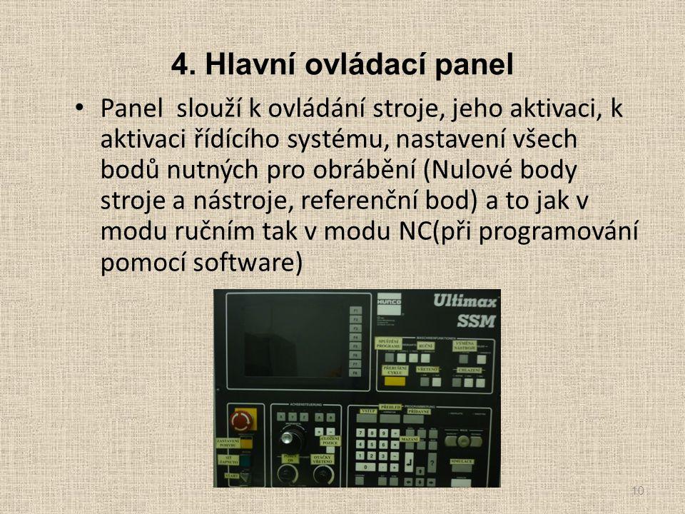 4. Hlavní ovládací panel Panel slouží k ovládání stroje, jeho aktivaci, k aktivaci řídícího systému, nastavení všech bodů nutných pro obrábění (Nulové