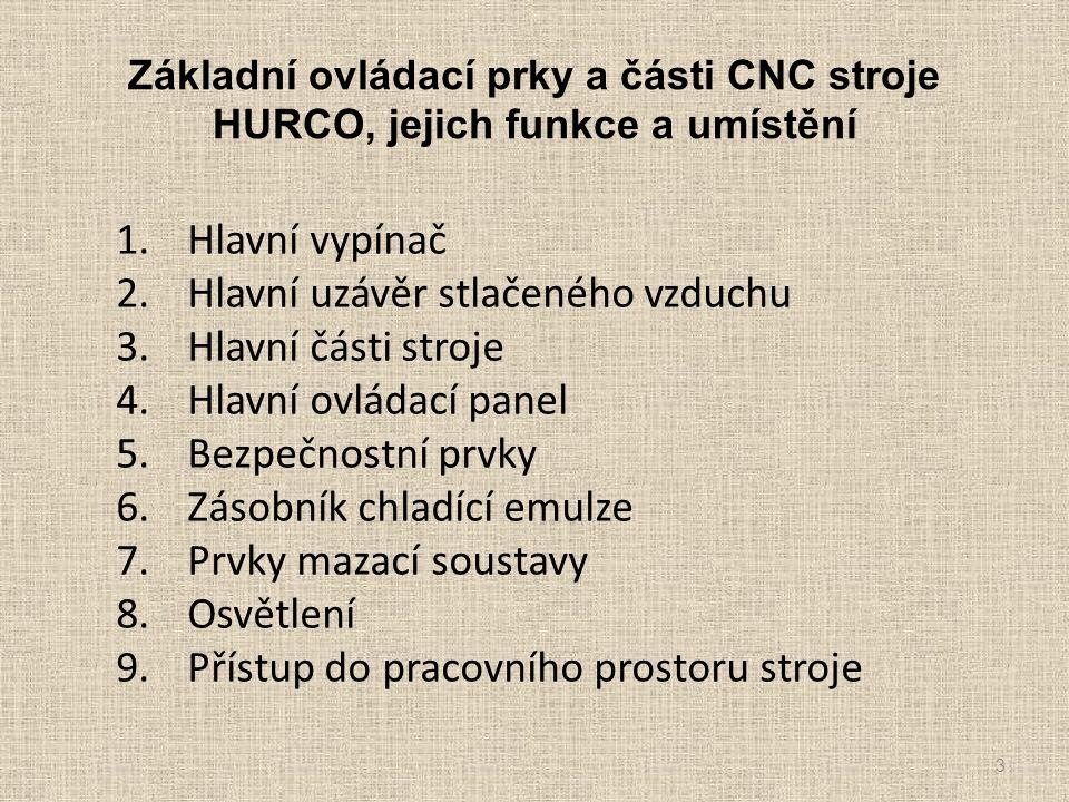 Základní ovládací prky a části CNC stroje HURCO, jejich funkce a umístění 1.Hlavní vypínač 2.Hlavní uzávěr stlačeného vzduchu 3.Hlavní části stroje 4.