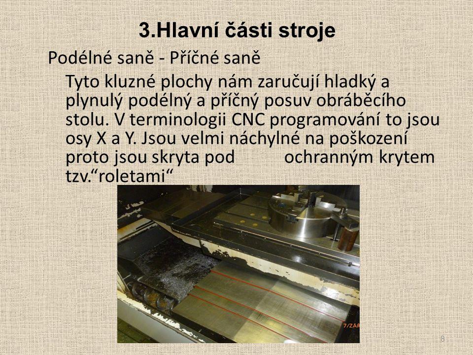 3.Hlavní části stroje Podélné saně - Příčné saně Tyto kluzné plochy nám zaručují hladký a plynulý podélný a příčný posuv obráběcího stolu. V terminolo