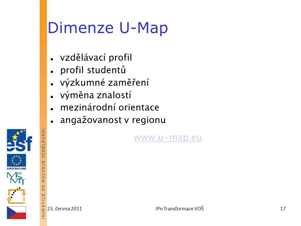 23. června 2011IPn Transformace VOŠ17 Dimenze U-Map vzdělávací profil profil studentů výzkumné zaměření výměna znalostí mezinárodní orientace angažova