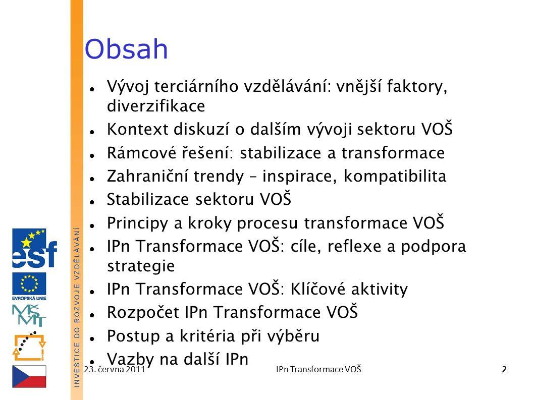 23. června 2011IPn Transformace VOŠ22 Obsah Vývoj terciárního vzdělávání: vnější faktory, diverzifikace Kontext diskuzí o dalším vývoji sektoru VOŠ Rá