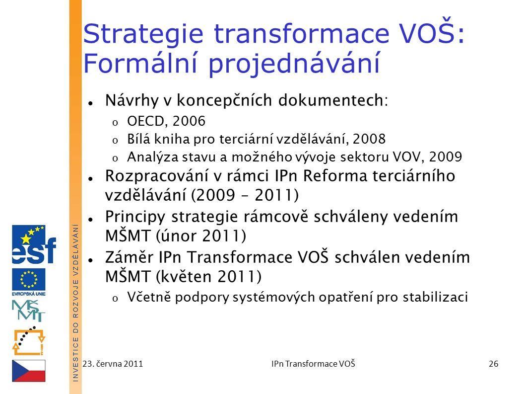 23. června 2011IPn Transformace VOŠ26 Strategie transformace VOŠ: Formální projednávání Návrhy v koncepčních dokumentech: o OECD, 2006 o Bílá kniha pr